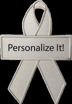 Personalized Silver Awareness Ribbon Pin