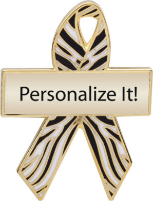 Personalized Zebra Awareness Ribbon Pin