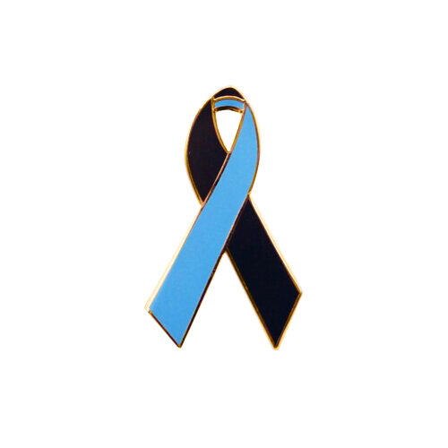 black and blue awareness ribbons lapel pins