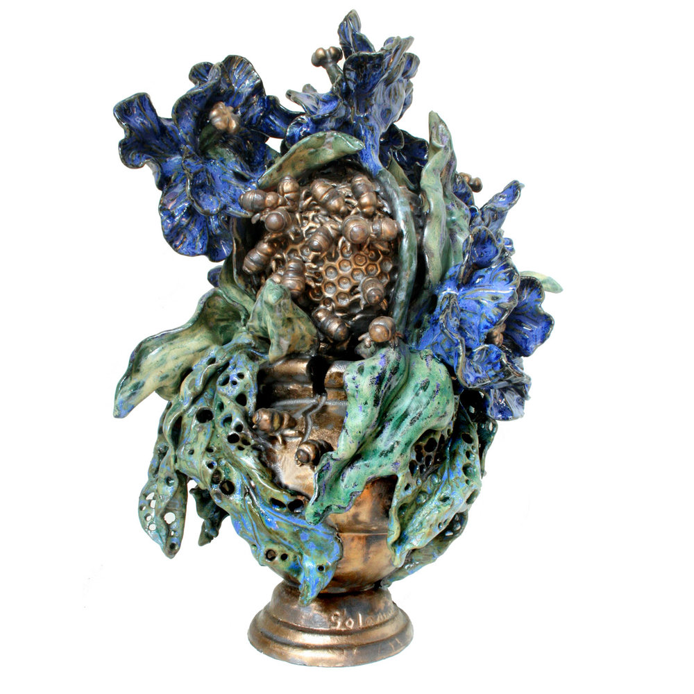 Classic Bust with Blue Tulips and Bees
