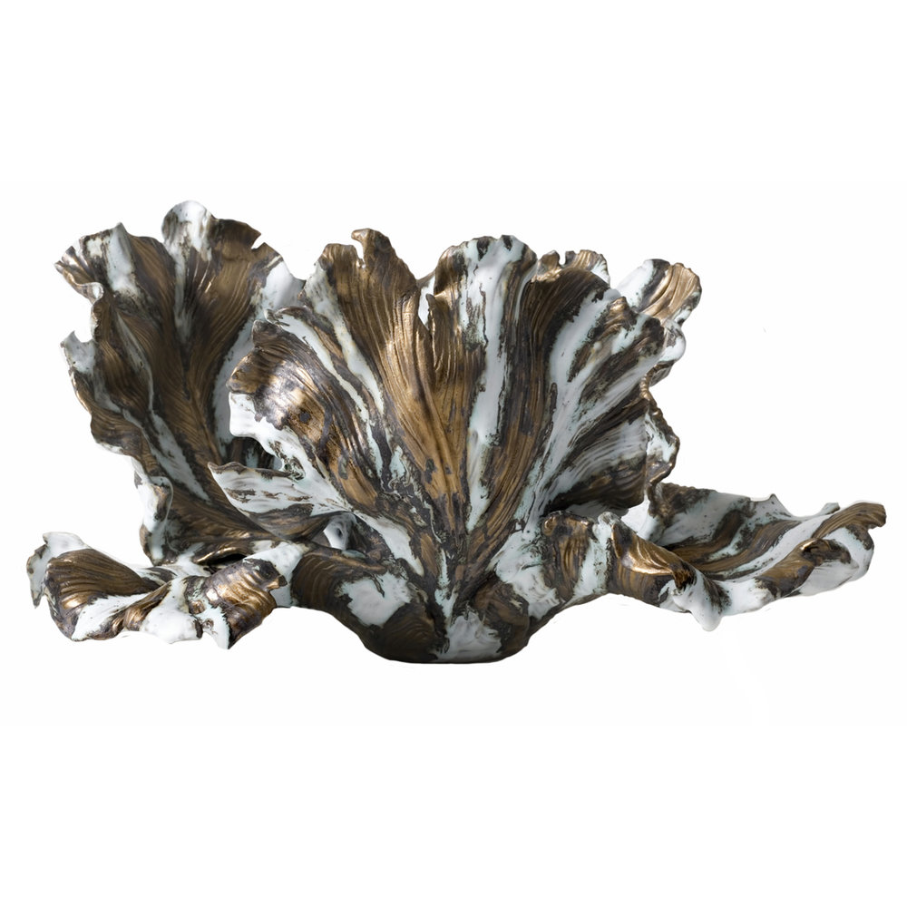 25 Inch Bronze and White Tulip Centerpiece