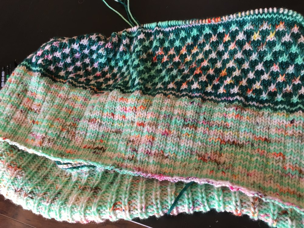 Finished colorwork section of Copenhagen Calling cowl