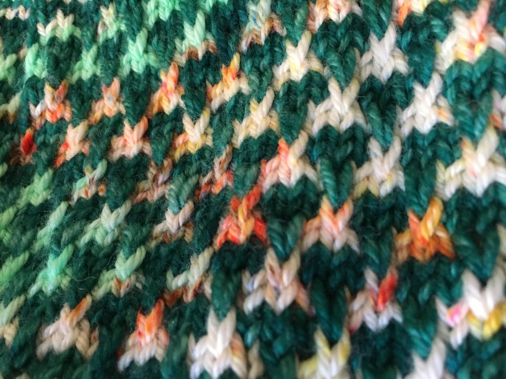 Close-up of the colorwork section.
