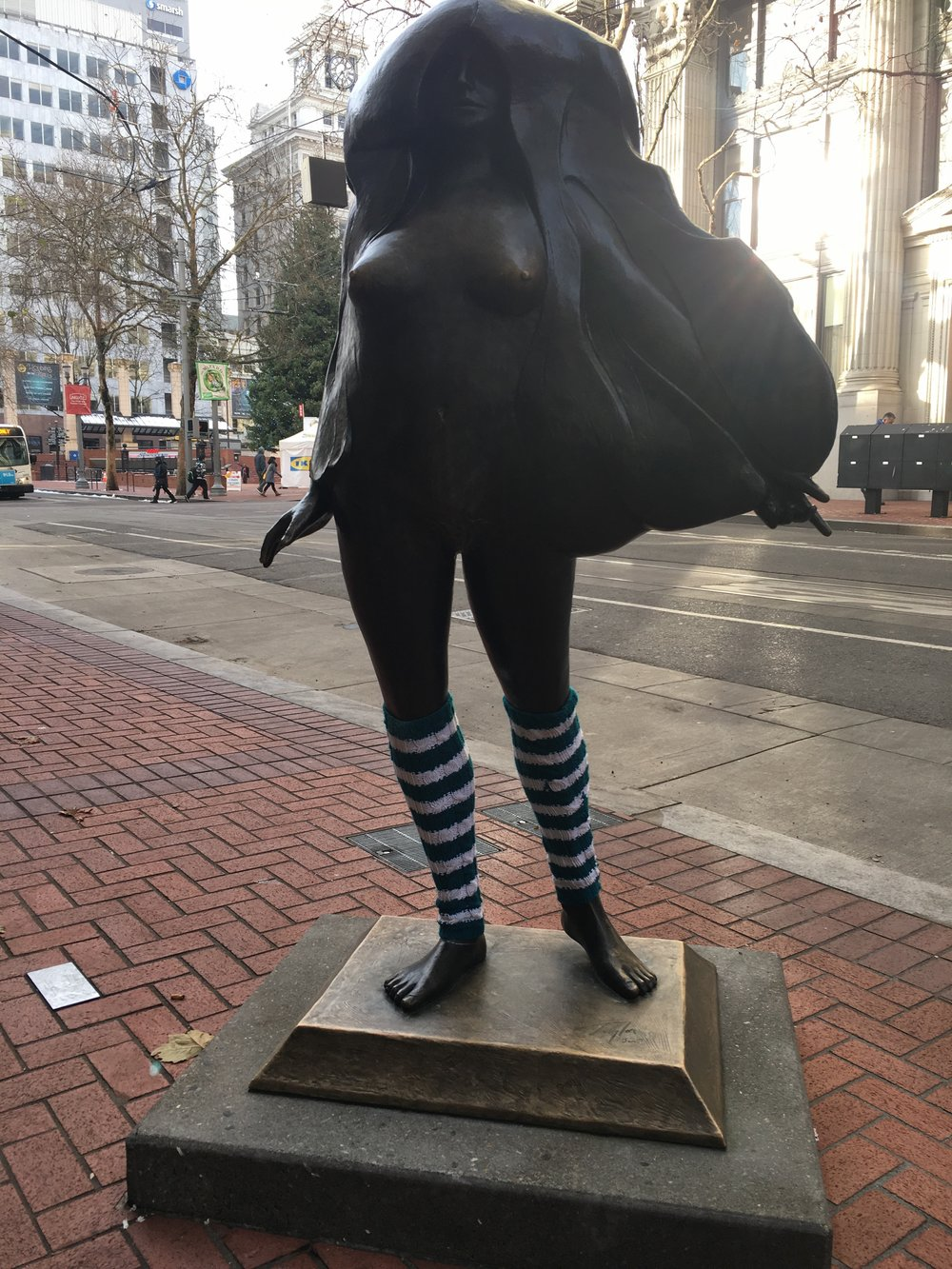 Portland Statue Enduring the Cold