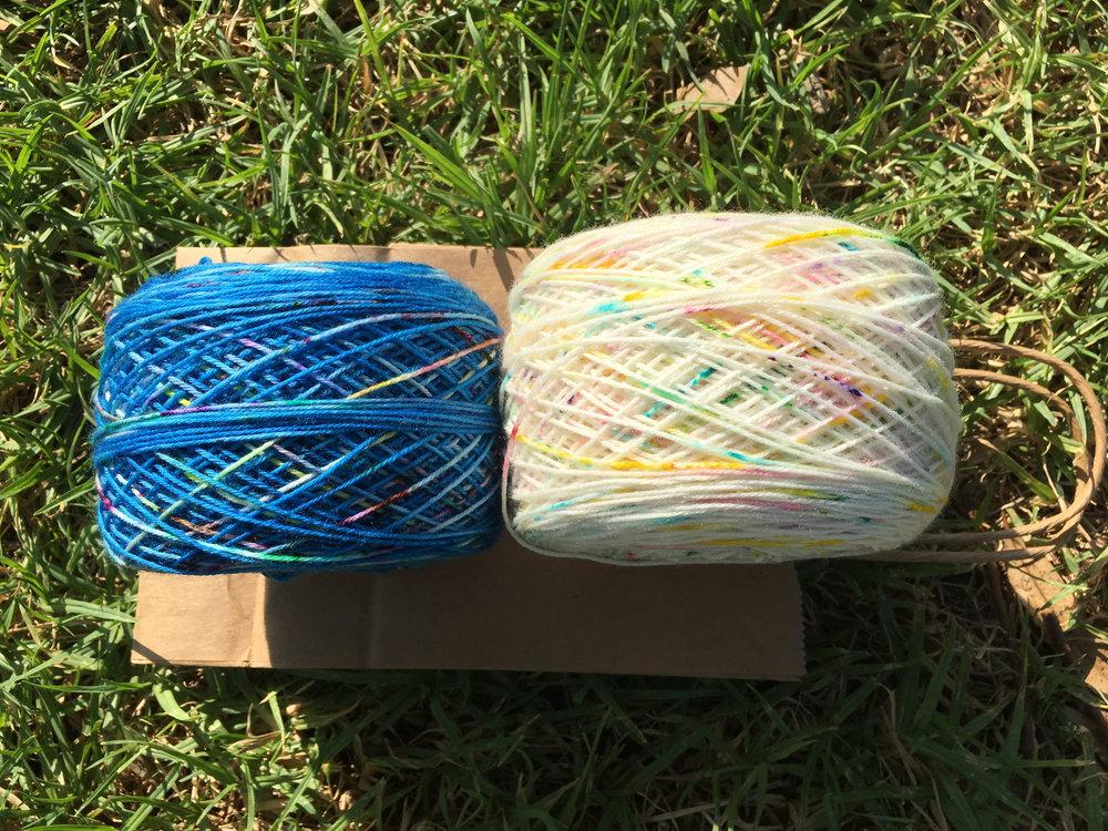 Machete Shoppe Yarn in Perseids and Fruity Pebbles