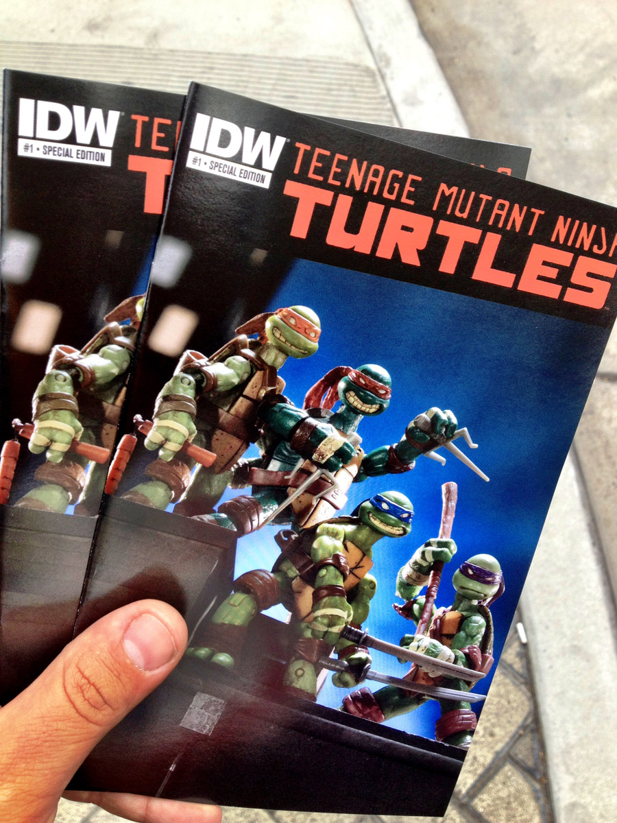 Showered with turtles comics on the street while minding my own business? That's the dream!