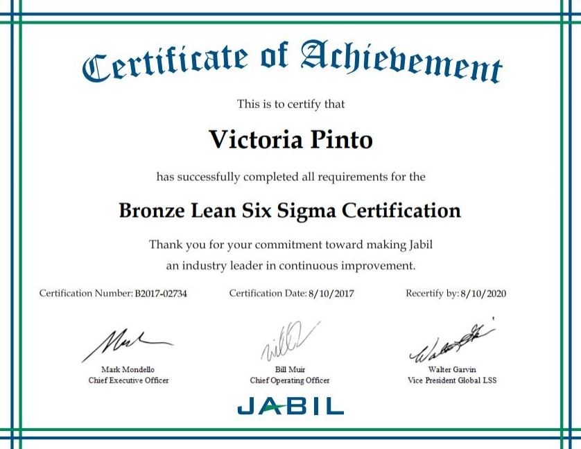 Bronze Lean Six Sigma Certification Victoria Pinto