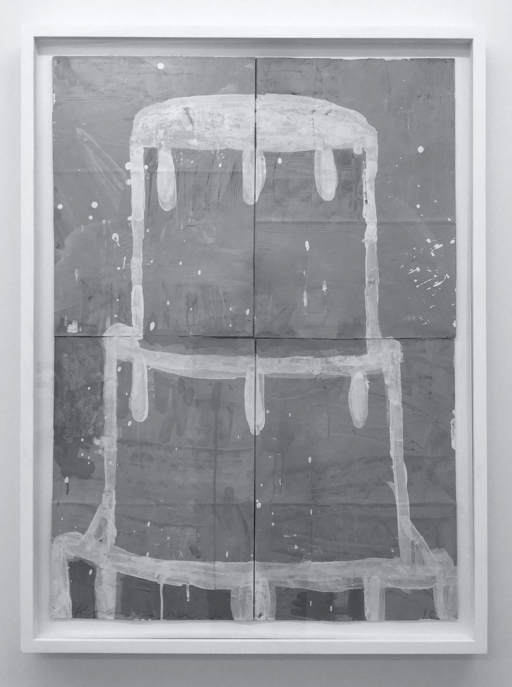 Gary Komarin,  Cake, Stacked: Creme on Grey , 2016, Water Based Enamel Paint on Paper Sacks, 33.25 x 23.75 inches