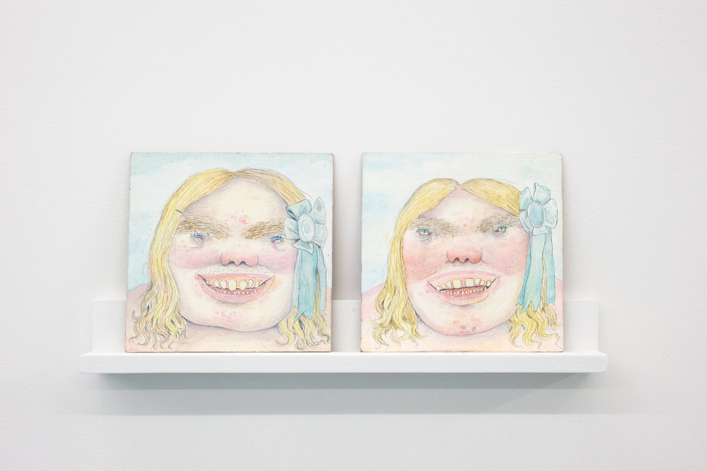 Rebecca Morgan  Twin Blue Ribbon (diptych) , 2011 Gouache and Graphite on Masonite 6 x 6 inches each (courtesy of Asya Geisberg Gallery)