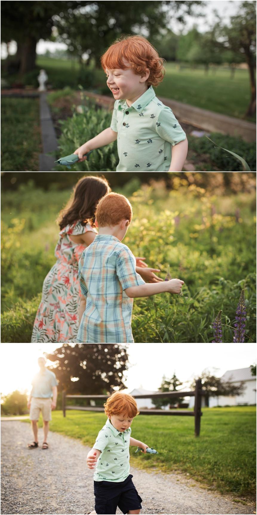 Photographer Oneonta NY, kids exploring outside