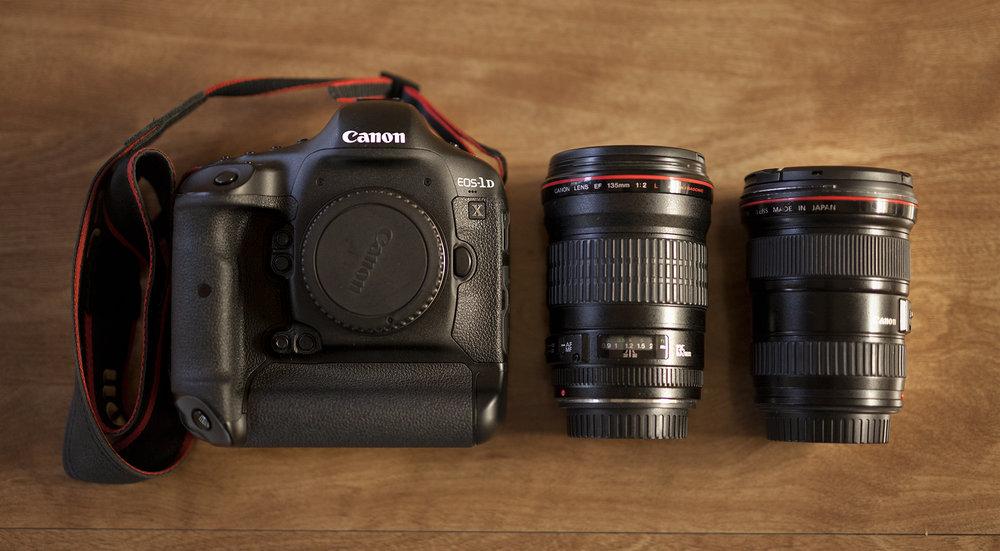 Canon 1Dx mark 1, Canon 135mm L f/2.0 and Canon 16-35mm L f/2.8 mark 1
