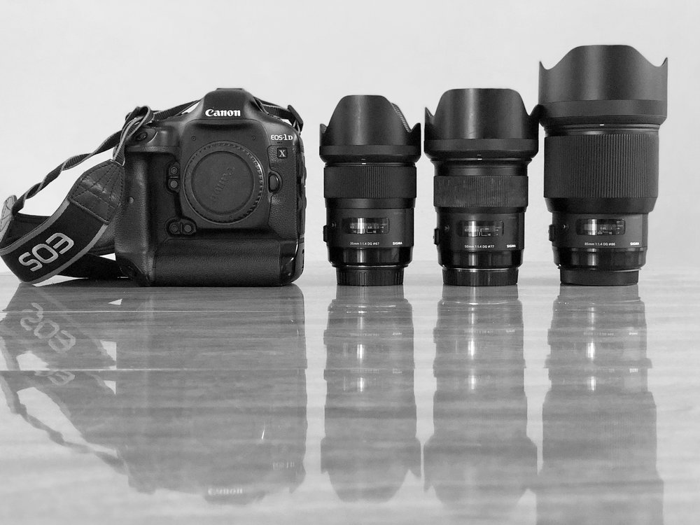 The equipment discussed in this post will be (from left to right) the Sigma Art 35mm 1.4, the Sigma Art 50mm 1.4 and the Sigma Art 85mm 1.4 all mounted to a Canon 1Dx body.  This image shot with iPhone X.
