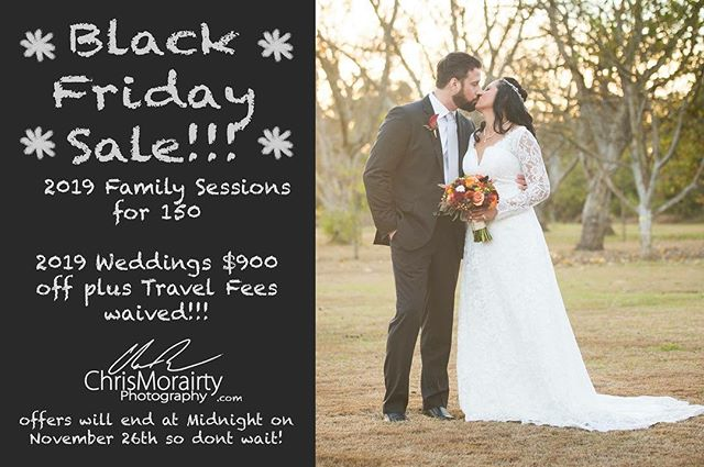Started the Black Friday sales early!  Check out my website for some amazing photo deals!  www.Chrismorairtyphotography.com/blackfriday