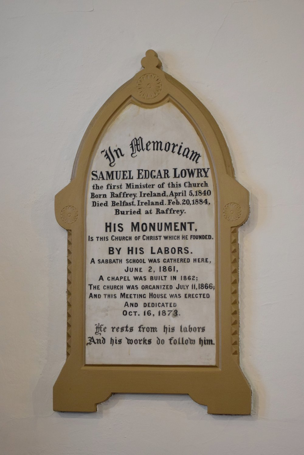 Memorial Plaque in Sanctuary