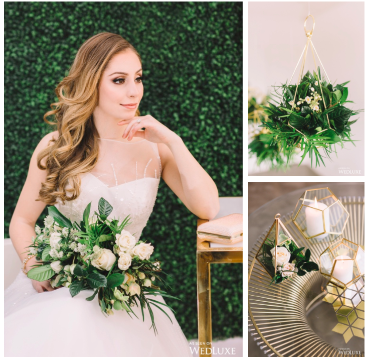 Inspired by both industrial modernity and summer, this styled shoot is filled with lush greenery and shiny metallic accents. Gold, geometric decor reigns supreme, from the contemporary reception chairs all the way to the prismatic centrepieces. Ultimately, it's the beautiful combination of natural floral arrangements and gilded structures that give this shoot its modern feel!
