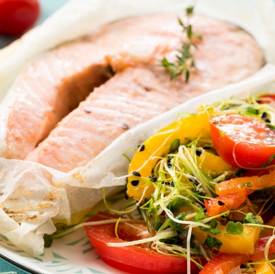 Salmon Steak with Pepper Salad