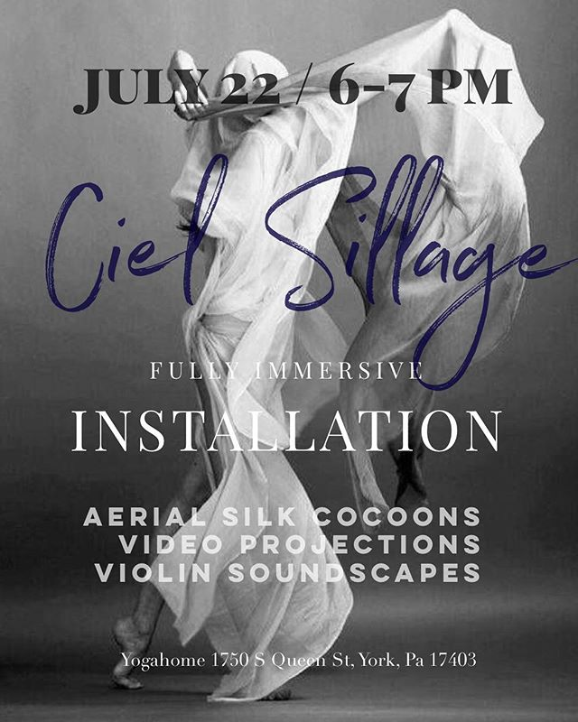 JULY 22 aerial silk / violin soundscape installation! We have 6 spaces left so if you or anyone you know think hanging suspended in a silk for an hour drifting to melodies sounds like heaven click on the Eventbrite link in the description box and get a ticket:) I have my first album ready for sale aswell:)
