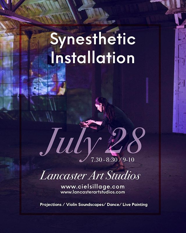 Friends! @wyattdranchek and I will be creating our last big installation for the summer this Saturday July 28 lancaster art studios. There will be 2 back to back shows with live painting, dancers, audience interaction, video projections, and brilliant violin soundscapes. Come out and bring a friend!