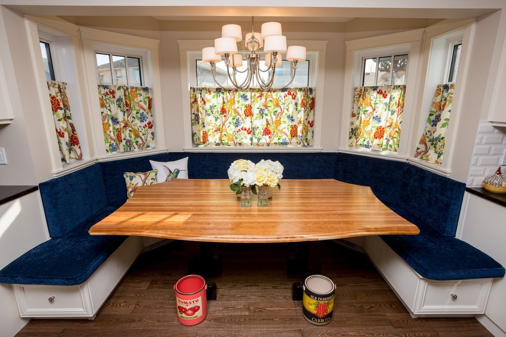 Upholstered Dining Room Banquette with Cafe Curtains.JPG