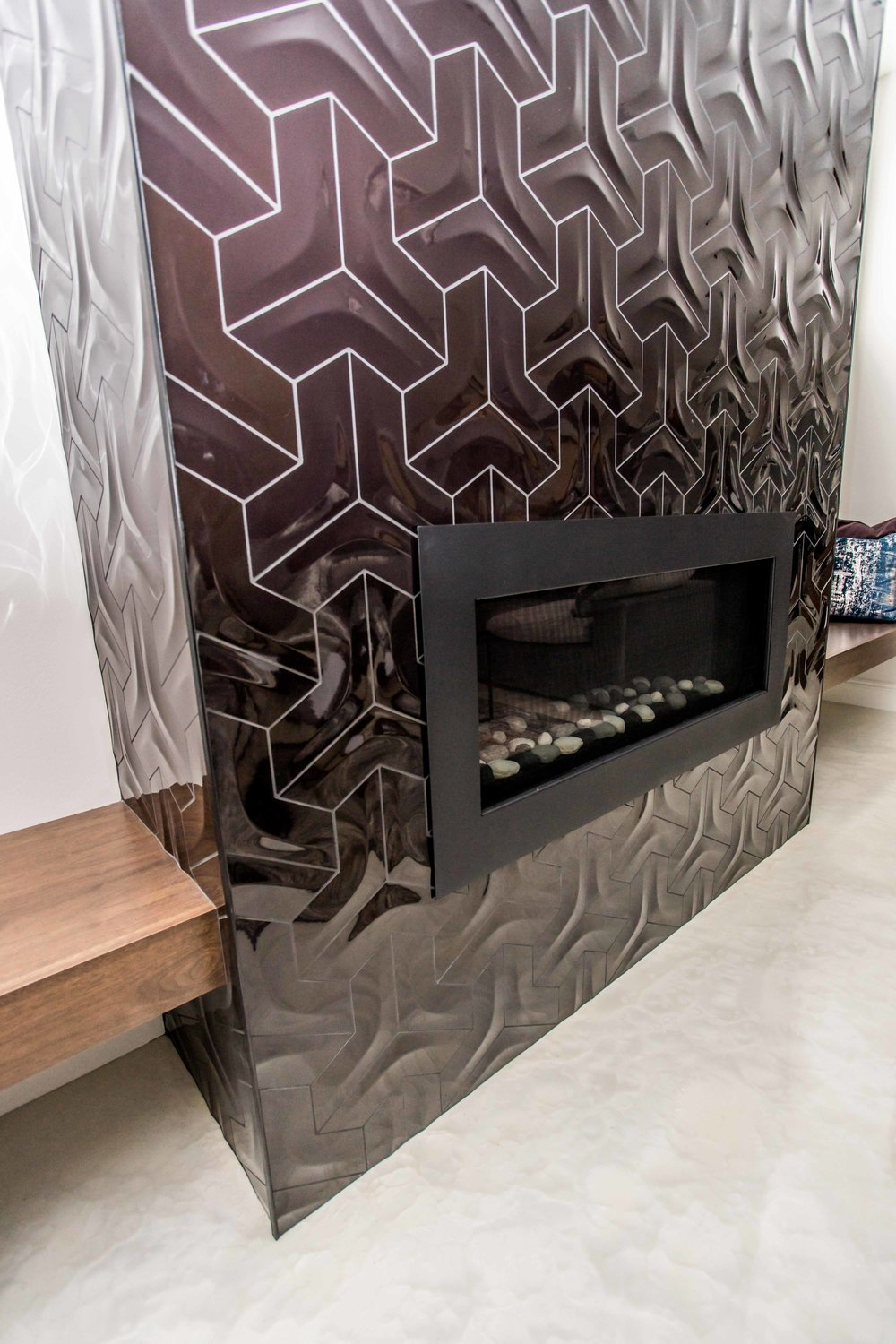 Lower Level Fireplace Tile Detail