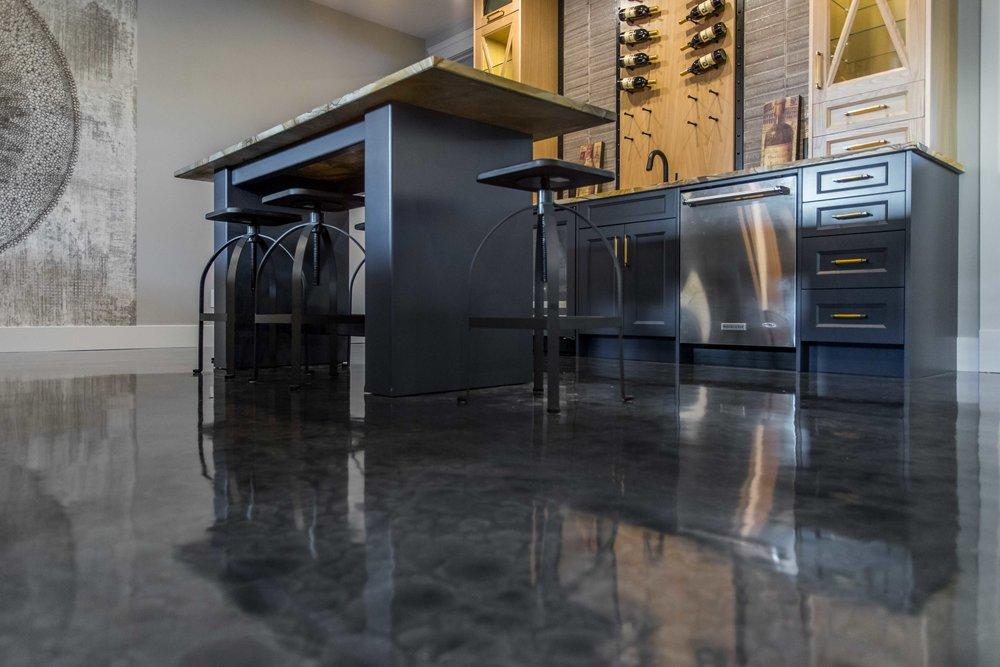 Lower Level High Gloss Epoxy floor with infloor heat