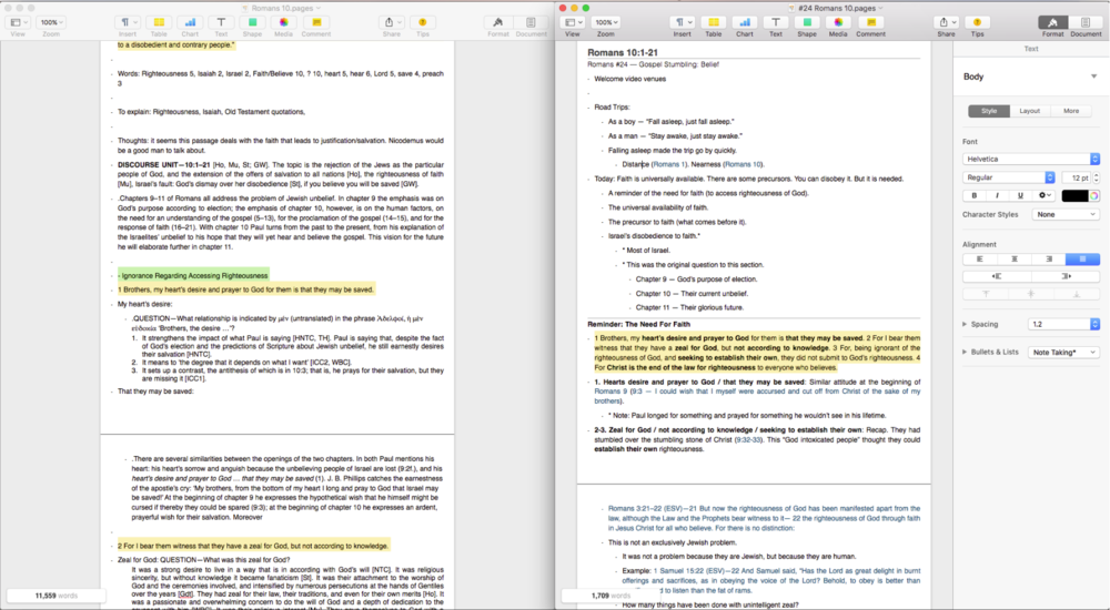 Research notes on left, Teaching Notes on right