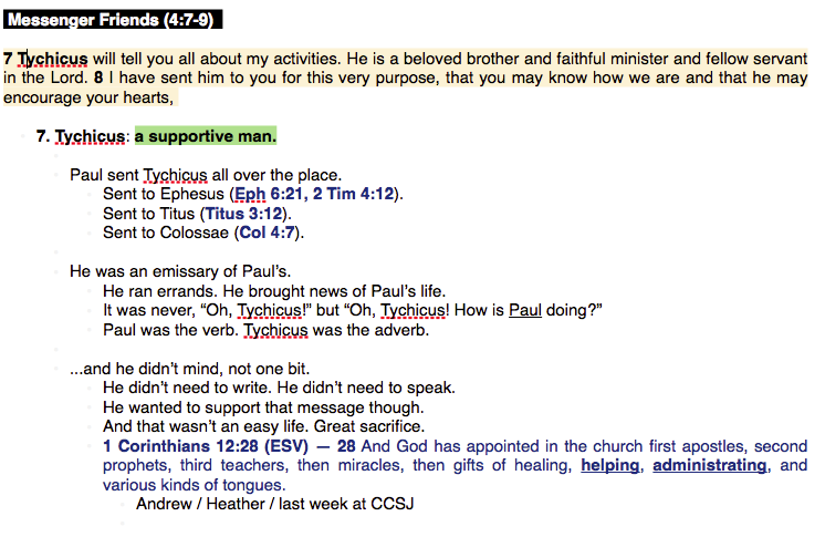 This is from a teaching on Colossians 4. This portion is from verse 7-9.