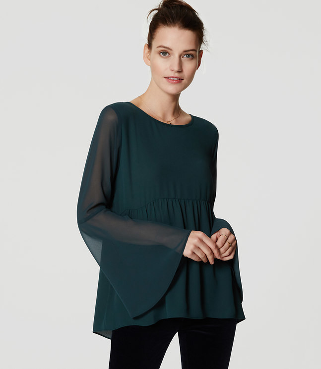 LOFT Sheer Bell Sleeve Blouse