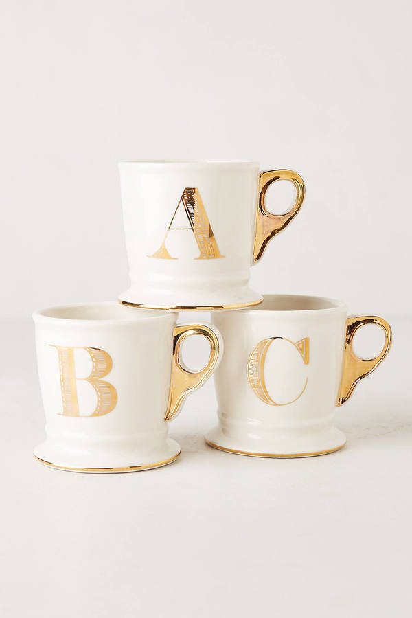 Anthropologie Golden Monogram Mug