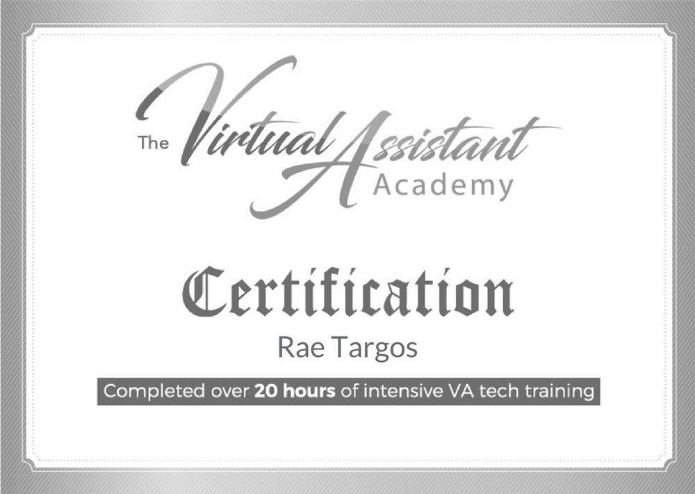 VA Academy Certificate