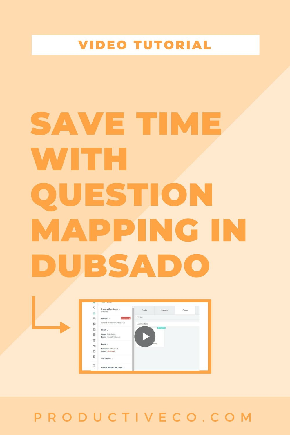 "Question mapping is a Dubsado feature that will help you save time by taking answers from one place and storing a duplicate copy in another place. For example, a form might ask your client what their name is and the ""map"" their name to the address book. Find out how to set up question mapping."