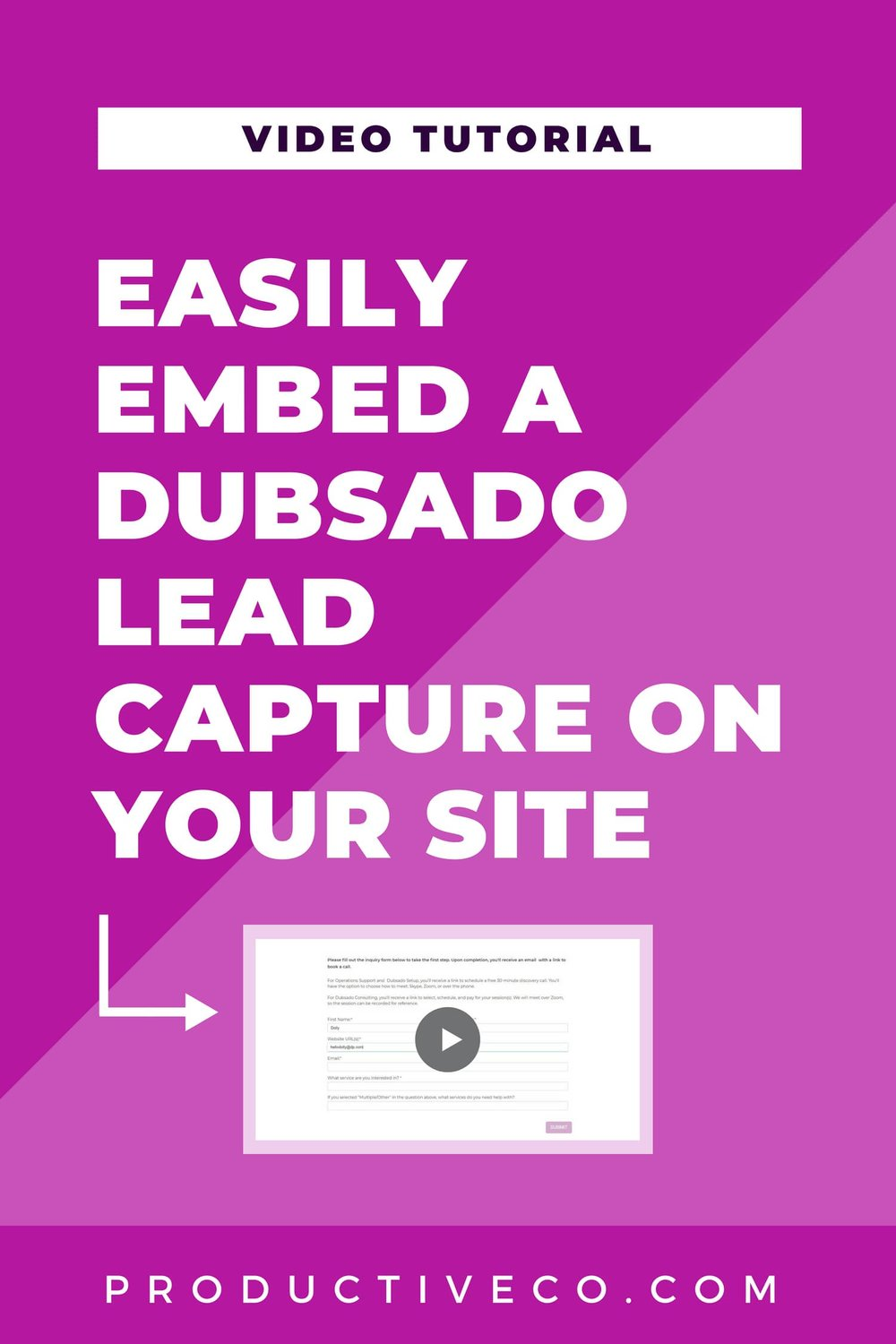 Dubsado lead captures give you two ways to share them: embed on your site or share a link to Dubsado's site. I show you how to embed a lead capture on your site here.
