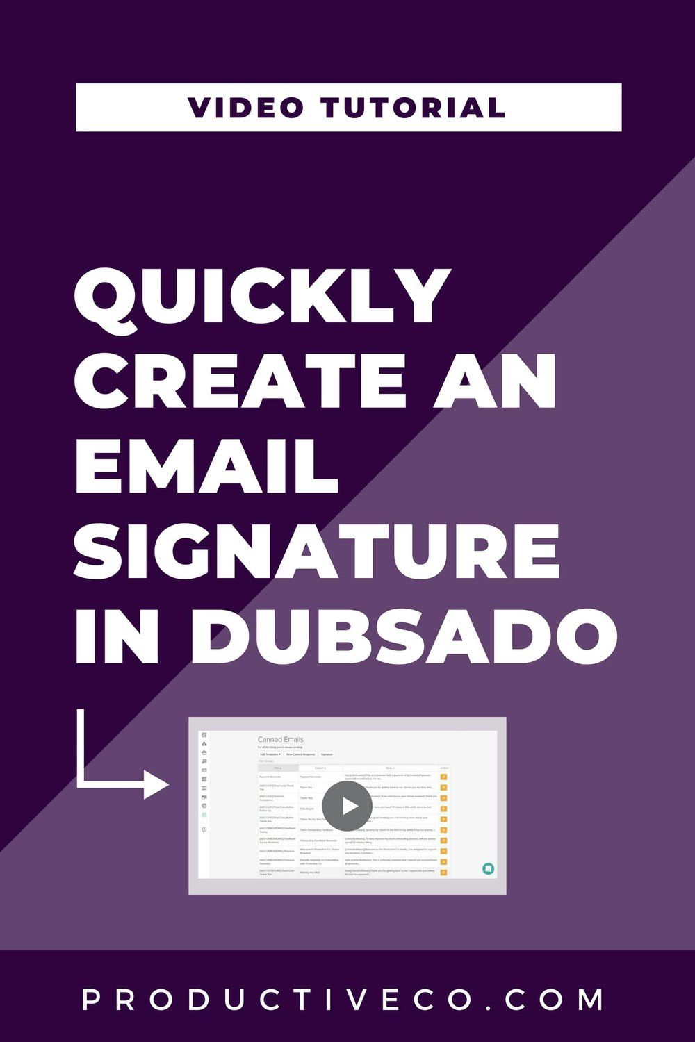 Quickly Create Your Email Signature in Dubsado Video. Canned email signature template for Dubsado.