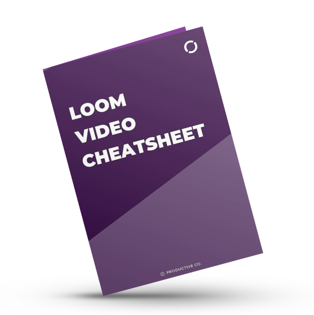 Loom video recorder cheatsheet that shows you how to record videos for free with keyboard shortcuts, a pre-recording checklist, and post-recording checklist.