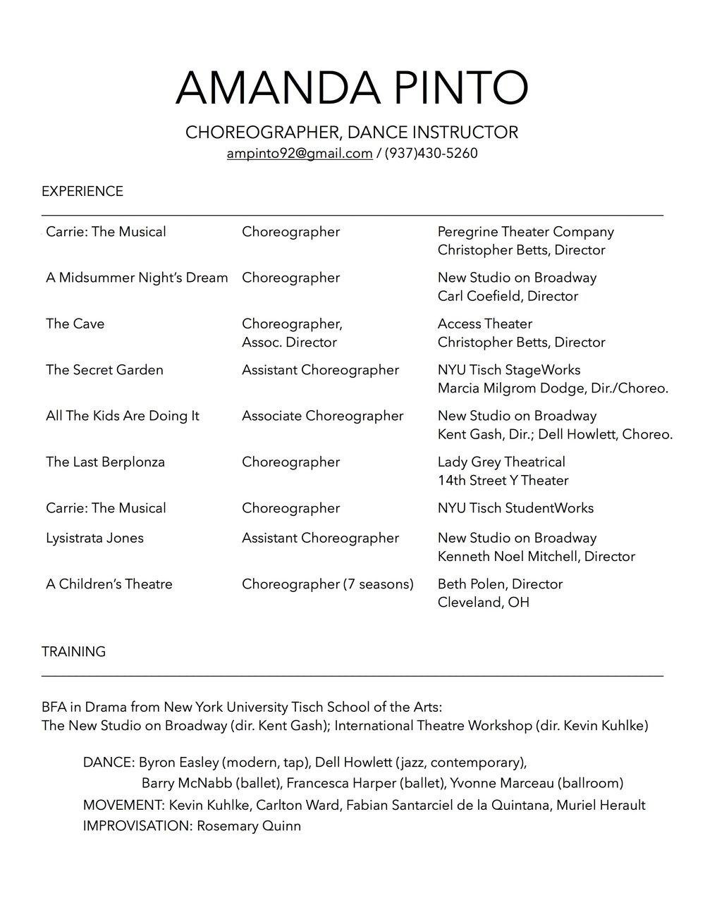 choreography amanda pinto resume