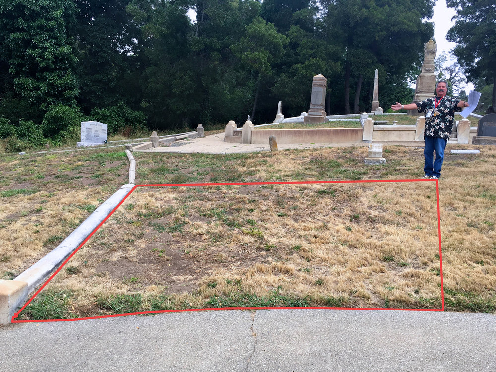 The unmarked grave site of Oakland Police Officer Richard B. Richardson, the first officer killed in the line of duty in   Alameda County (10/23/1867)