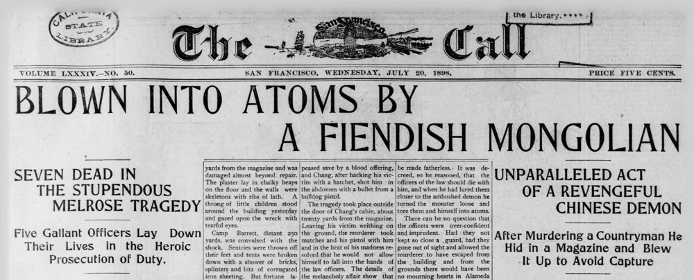 Headline of the San Francisco Call, July 20th, 1898