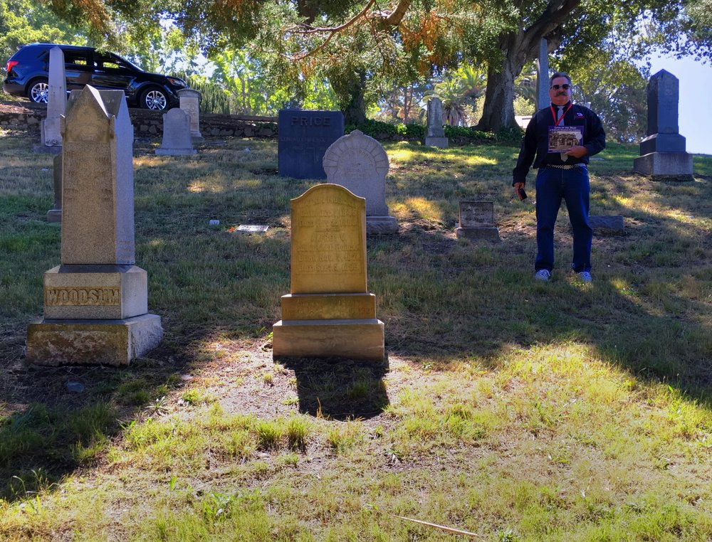 Unmarked gravesite of Gustave Koch (in front of ACHGP member Michael Wozniak - CLICK for full image). George Woodsum's gravesite is to the left