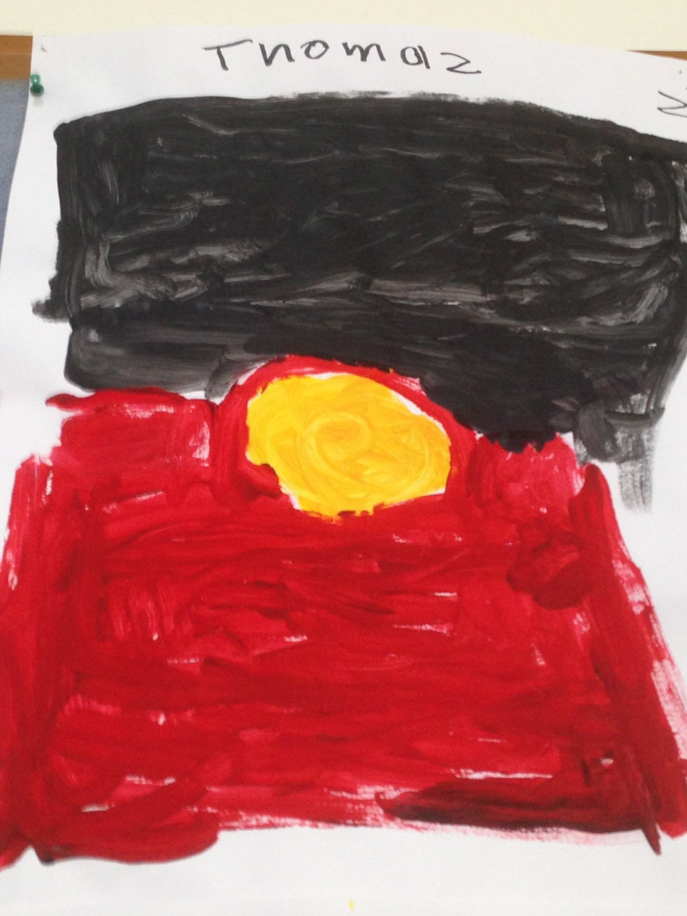 The Aboriginal flag painted by children