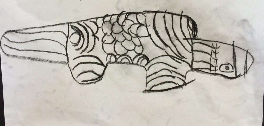 Child's black and white drawing was inspired by Indigenous art work