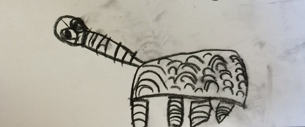 Indigenous inspired art work of long neck turtle by young child