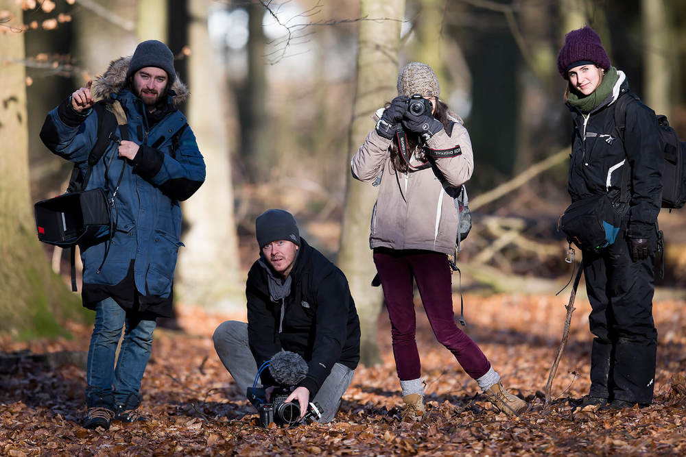 The crew on location in Glabais, Belgium.