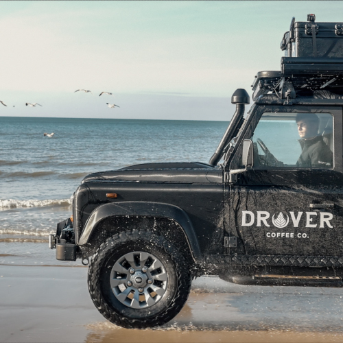 Drover Land rover on the beach
