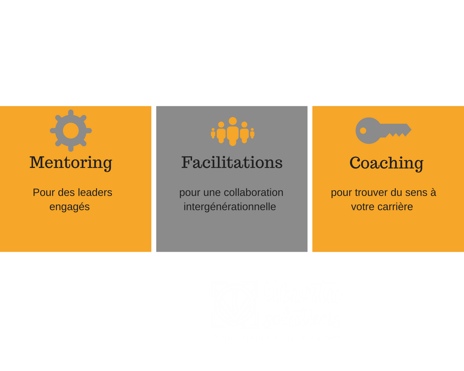 3 services différents, coaching, mentoring, facilitations