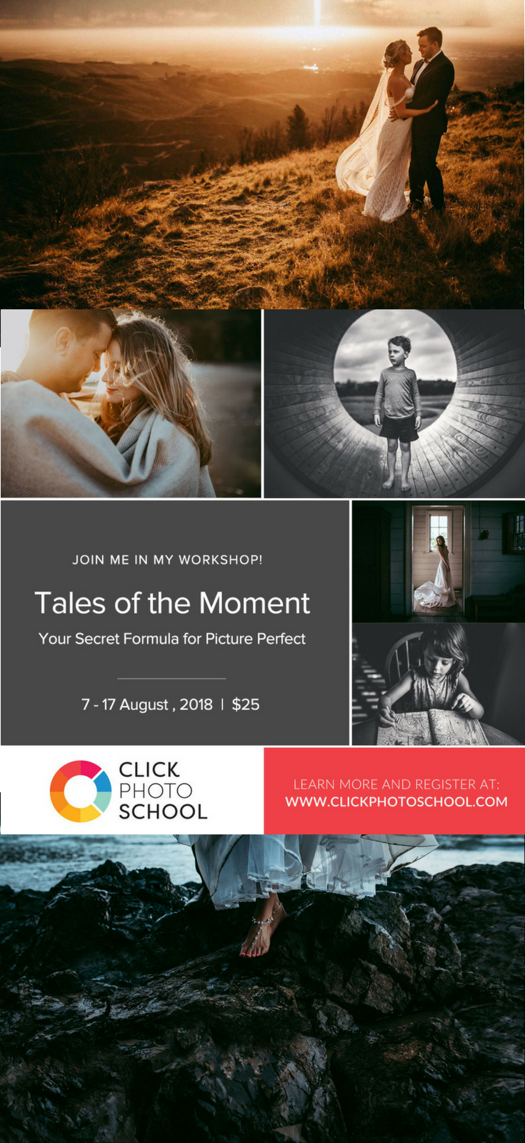 Click Photo School | Education for photographers | Photography workshop | Online course - wedding | family | newborn | maternity | couples- engagement