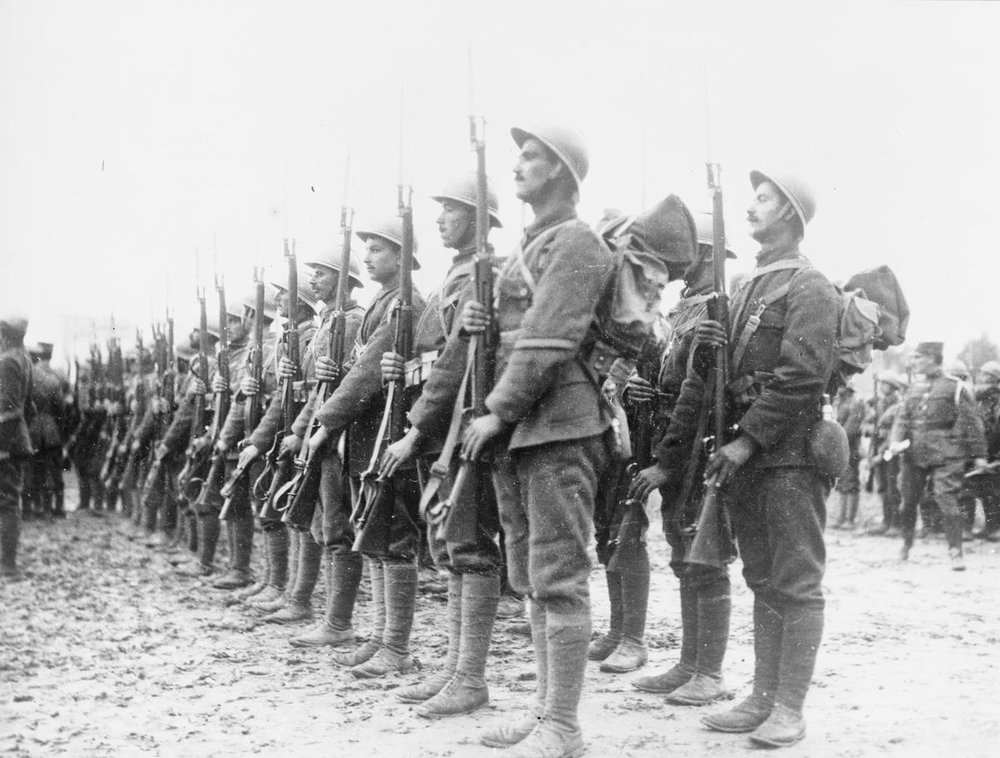 Soldiers of the Greek National Defence Army on parade in Salonika during 1916 (IWM Q 32513)