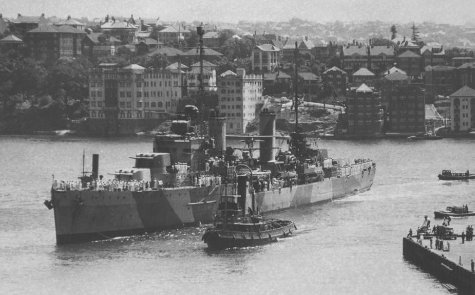 HMAS Sydney arrives in Sydney harbour - February 1941