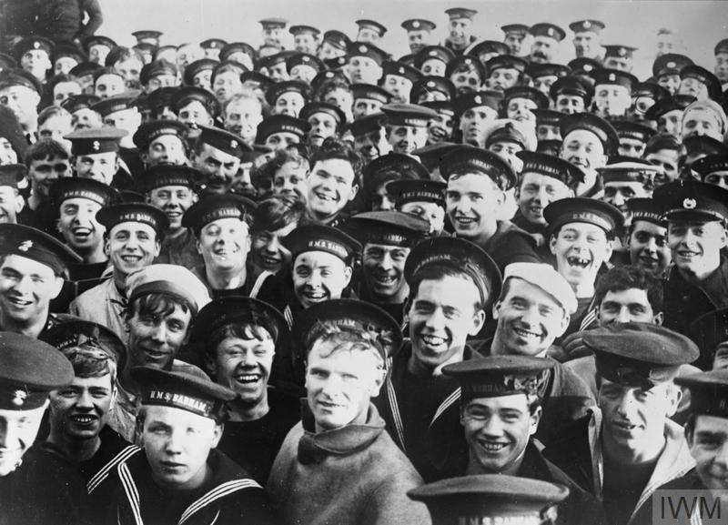 Crew of HMS Barham watching the surrendered of the German navy at Scapa Flow - 21 November 1918 © IWM Q 19680