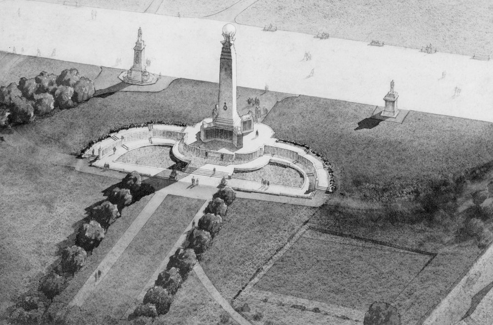 CWGC Plymouth Naval Memorial - B&W Drawing