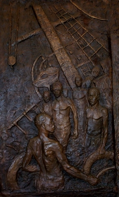 Bronze Relief at Delville Wood Museum in France which depicts the sinking.
